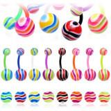 Cumpara ieftin Piercing pentru buric – valuri colorate - Culoare Piercing: Galben