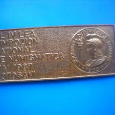 HOPCT ROMANIA INSIGNE AL IV LEA SIMPOZION NAT NUMISMATICA-BOTOSANI 1987 D= 55 MM