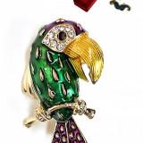 Brosa papagal auriu cu multicolore Vopsita manual si Cristare Swarovski