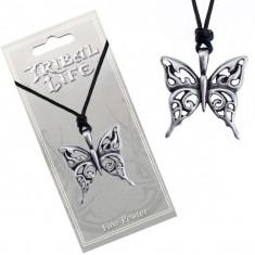 Colier din șnur - pandantiv fluture sculptat cu patină