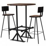 Set mobilier de bar, 3 piese, lemn masiv reciclat, vidaXL