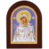 Cumpara ieftin Icoana Argint Maica Domnului Sapte Sageti 7.5×9.5 cm, fundal albastru COD: 1658