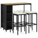 VidaXL Set mobilier bar de grădină cu perne, 5 piese, negru, poliratan
