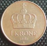 Moneda 1 COROANA - NORVEGIA, anul 1981 *cod 840, Europa