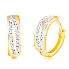 Cercei din aur de 14K - două arcuri strălucitoare din zirconii transparente