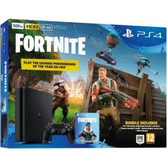 Consola SONY PlayStation 4 Slim 500GB, Jet Black + joc Fortnite (cod descarcare) + bonus