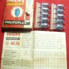 10 Becuri pt Blitz-  Aparat Foto vechi ,marca Philips Universal ,cutie originala