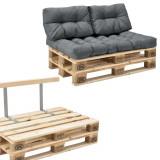 Garnitura completa mobilier paleti Model B - 2 x europalet, 1 x perna sezut, 2 x perne spate, 1 x suport spate- gri deschis
