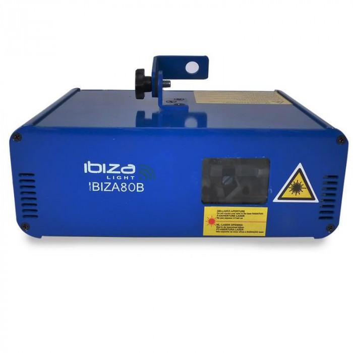 Laser Ibiza pentru cluburi, 10 canale DMX, 80 mW, albastru