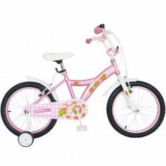 Bicicleta copii 18 FIVE Abra cadru otel culoare roz alb roti ajutatoare varsta 6 8 ani
