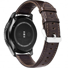 Curea piele Smartwatch Samsung Gear S3, iUni 22 mm Vintage Dark Coffee