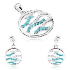 Set din argint 925, cercei și pandantiv, cerc, valuri din zirconiu transparent și albastru
