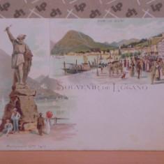 ELVETIA - LUGANO - LITOGRAFIE CU 2 POZE STATUIA GME TELL SI VEDERE CHEU, 1896-