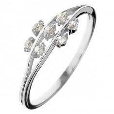 Inel din argint 925 - flori mici din zircon pe tije - Marime inel: 52