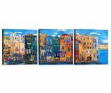 Cumpara ieftin Set 3 tablouri City View 30x30 cm - Tablo Center, Albastru,Multicolor