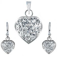 Set din argint 925 - pandantiv şi cercei, inimă transparentă strălucitoare