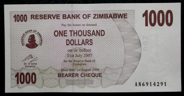 Zimbabwe 1000 1.000 $ Dollars dolari 2006 UNC necirculata **