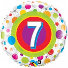 Balon aniversar 7 ani din folie cu buline 43cm