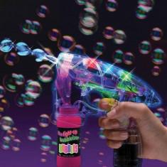 Pistol pentru baloane de sapun, LED RGB, flacon solutie, albastru