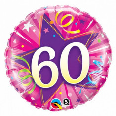 Balon aniversar 60 ani roz din folie metalizata 43cm