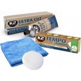 Set corector pentru zgarieturi auto de suprafata: pasta retus + polish finisare + burete cu laveta microfibre