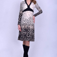 Rochie casual V neck cu maneci lungi Animal Print