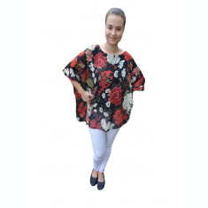 Bluza vaporoasa Federic cu aplicatii de voal si imprimeu ,nuanta de negru