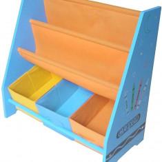 Organizator carti si jucarii cu cadru din lemn Blue Crayon