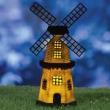 Moara de vant solara LED, 1.2V, lumina alb cald, 25 cm, IP44, decor gradina