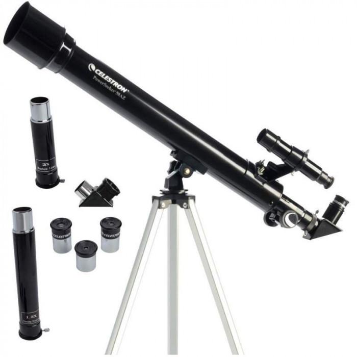 Telescop Celestron Powerseeker 50AZ, 150X, refractor, lentila 50mm, obiectiv Barlow