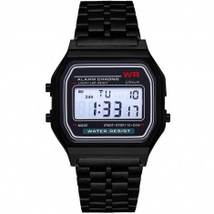 Ceas Electronic Digital Retro iUni WR1, Curea Metalica, Lady Black
