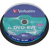 "DVD-RW VERBATIM 4.7GB 120min viteza 4x 10 buc Single Layer spindle ""Matt Silver"" ""43552"""