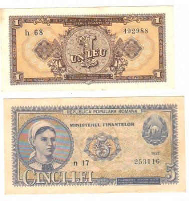 SV * Romania  RPR   LOT  1  LEU + 5 LEI   1952   SERIA  ALBASTRA     AUNC+ / XF+ foto
