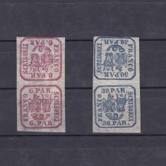 1864 - Principatele Unite - 6 si 30 parale - perechi tete beche -originale -RAR