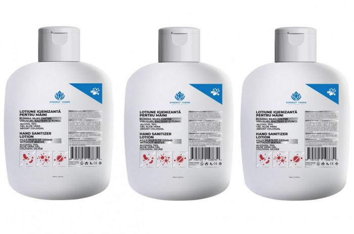 3 X Lotiune igienizanta Synergy 70% alcool, Aloe Vera, Argint Coloidal, 100 ml