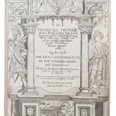 THE GENERALL HISTORIE OF THE TURKES de RICHARD KNOLLES - ADAM ISLIP, 1631