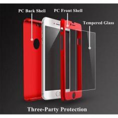 Husa Full Cover 360° fata + spate + folie sticla pentru iPhone 7 Red