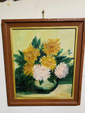 Pictura Crizanteme  ( ulei pe carton ), Flori, Realism
