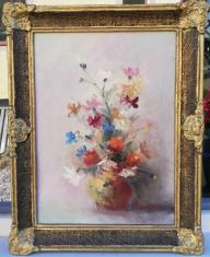 Gheorghe Mocanu Tablou Natura statica Vas cu flori pictura ulei 54x42cm foto