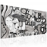 Tablou pictat manual - Silver Kiss - 3 piese - 120 x 60 cm, Artgeist
