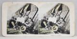 TANARA DAND LECTII DE FRANCEZA SOLDATILOR AMERICANI , FOTOGRAFIE STEREOSCOPICA , POLICROMA, PE CARTON , PRIMUL RAZBOI MONDIAL