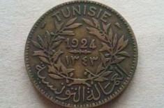 MONEDA 2 FRANCI 1924-TUNISIA foto