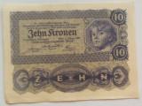 Bancnota ISTORICA 10 COROANE - AUSTRO-UNGARIA (AUSTRIA), anul 1922   *cod 142 C