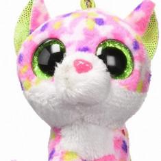 Breloc din plus TY Boos 8.5 - Sophie, pisica roz