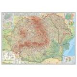 Romania si Republica Moldova. Harta fizica, administrativa si a substantelor minerale utile, 1400x1000 mm, fara sipci (GHR1CD1-L)