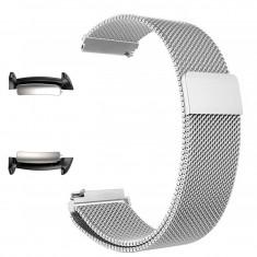 Curea tip Milanese Loop, adaptoare compatibile Samsung Gear Fit 2, Argintiu