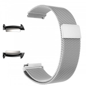 Curea tip Milanese Loop, adaptoare compatibile Samsung Gear Fit 2, Argintiu