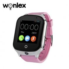 Ceas Smartwatch Wonlex GW1000S cu Functie Telefon, Localizare GPS, Camera, 3G, Pedometru, SOS, Android - Roz
