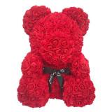 Ursulet din trandafiri de spuma, urs floral rosu, 25 cm, handmade, cutie transparenta