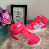 Tenisi roz holografici pantofi sport adidasi ghete papuci copii fete 24 25